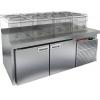 Стол холодильный низкий, GN1/1, L1.39м, борт H50мм, 2 двери глухие, ножки низкие, -2/+10С, нерж.сталь, дин.охл., агрегат справа