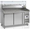 Стол холодильный для пиццы, EN, L1.51м, борт H150мм, 2 двери глухие, ножки, +2/+10С, нерж.сталь, дин.охл., агрегат справа, витрина 6GN1/3, гран.ст.