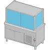 Витрина холодильная напольная, вертикальная, L1.50м, 2 полки-решетки, +4/+12С, нерж.сталь, дин.охл., ванна охлажд., шкаф ниж.холод., 6 откидных дверок