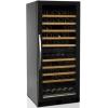 Шкаф холодильный д/вина, (270л), 1 дверь стекло , 10 полок, ножки, +5/+18С и +10/+18C, стат.охл.+вент., черный, R600a