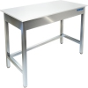 Стол производственный разделочный, 1500х600х850мм, без борта, открытый, обвязка с 3-х сторон, нерж.сталь 430, разборный, столешница полипропилен