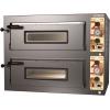 Печь для пиццы электрическая, подовая, 2 камеры  700х660х200мм, 8 пицц D330мм, электромех.управление, двери стекло, под камень, пароувлажнение, бойлер