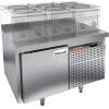 Стол холодильный низкий, GN1/1, L0.9м, борт H50мм, 1 дверь глухая, ножки, -2/+10С, нерж.сталь, дин.охл., агрегат справа