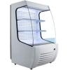 Витрина холодильная напольная, вертикальная, для самообслуживания, L0.88м, 2 полки, +2/+10С, дин.охл., белая, фронт открытый, колеса, ночная шторка