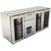 Модуль барный холодильный, 1800х600х830мм, без столешницы, 3 двери стекло, 1 ящик,+2/+10С, нерж.сталь, агрегат центр.