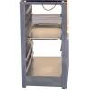 Подставка под печь-коптильню КР-7.90, КР-7.150, без борта, закрытая с боков, 1 полка сплошная, ножки, 6 пар направляющих под решетки