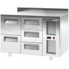 Стол холодильный, L1.20м, борт H60мм, 5 ящиков, ножки, -2/+10С, нерж.сталь, дин.охл., агрегат справа