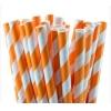 Трубочки для напитков бумажные D 6мм L 197мм полоска оранжевый/белый