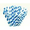 Трубочки для напитков бумажные D 6мм L 197мм полоска синий/белый