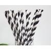 Трубочки для напитков бумажные D 6мм L 197мм полоска чёрный/белый