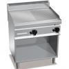 Гриль-сковорода газовая, 2 зоны, поверхность комбинированная (гладкая+рифленая) стальная, стенд полузакрытый без двери, магистральный газ