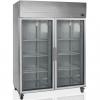 Шкаф холодильный, GN2/1, 1410л, 2 двери стекло, 6 полок, колеса, +2/+10С, дин.охл., нерж.сталь