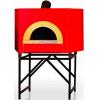 Печь дровяная, 1 камера, под 1.13м2 камень сегментированный, термометр, корпус красный, дверь сталь, подставка
