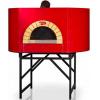 Печь дровяная, 1 камера, под 1.54м2 камень сегментированный, термометр, корпус красный, дверь сталь, подставка