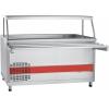 Прилавок холодильный, L1.50м, ванна охлаждаемая +1/+10С, стенд полузакрытый без двери, нерж.сталь, 1 полка сплошная, направляющие