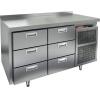 Стол холодильный, GN1/1, L1.39м, борт H50мм, 6 ящиков, ножки, -2/+10С, нерж.сталь, дин.охл., агрегат справа