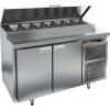 Стол холодильный для пиццы, GN1/1, L1.39м, 2 двери глухие, ножки, +2/+10С, нерж.сталь, дин.охл., агрегат справа, короб 8GN1/6