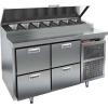 Стол холодильный для пиццы, GN1/1, L1.39м, 4 ящика, ножки, +2/+10С, нерж.сталь, дин.охл., агрегат справа, короб 7GN1/3