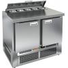 Стол холодильный саладетта, GN1/1, L1.00м, б/борта, 2 двери глухие, ножки, +2/+10С, нерж.сталь, дин.охл., агрегат нижний, гнездо GN1/6, крышка