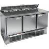 Стол холодильный саладетта, GN1/1, L1.49м, борт H50мм, 3 двери глухие, ножки, +2/+10С, нерж.сталь, дин.охл., агрегат нижний, гнездо GN1/6, крышка