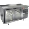 Стол холодильный, GN1/1, L1.39м, борт H50мм, 2 двери стекло, ножки, -2/+10С, нерж.сталь, дин.охл., агрегат справа