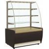 Витрина холодильная напольная, горизонтальная, L0.92м, 3 полки, +6/+12С, дин.охл., золотисто-коричневая, стекло фронтальное гнутое, подсветка