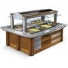 Салат-бар охлаждаемый, островной, 12GN1/1, стеклянный навес, орех