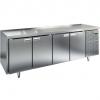 Стол холодильный сквозной, GN1/1, L2.28м, б/борта, 8 дверей глухих, ножки, -2/+10С, нерж.сталь, дин.охл., агрегат справа
