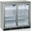 Стол холодильный д/напитков, 191л, 2 двери-купе стекло, 4 полки 395х330мм, ножки, +2/+10С, нерж.сталь, стат.охл.+вентилятор, R134a, подсветка