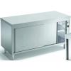 Стол тепловой раздаточный, 2000х700х850мм, без борта, сквозной, закрытый, двери-купе, нерж.сталь, край прямой