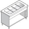 Прилавок раздаточный для вторых блюд, L1.50м, 4GN1/1, стенд полузакрытый без двери, нерж.сталь, паровой
