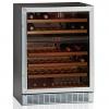 Шкаф холодильный д/вина,  38бут. (155л), 1 дверь стекло, 6 полок, ножки, +5/+18С, стат.охл.+вент., черный+нерж.сталь, 2 темп.зоны