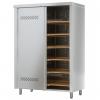 Шкаф кухонный для хлеба, 1200х600х1725мм, 2 двери-купе, 12 полок решетчатых, нерж.сталь, замок, 6 уровней, перфорация